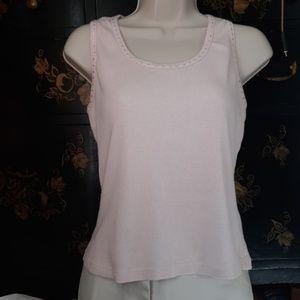 Baby Pink Rhinestone Cotton Tank L